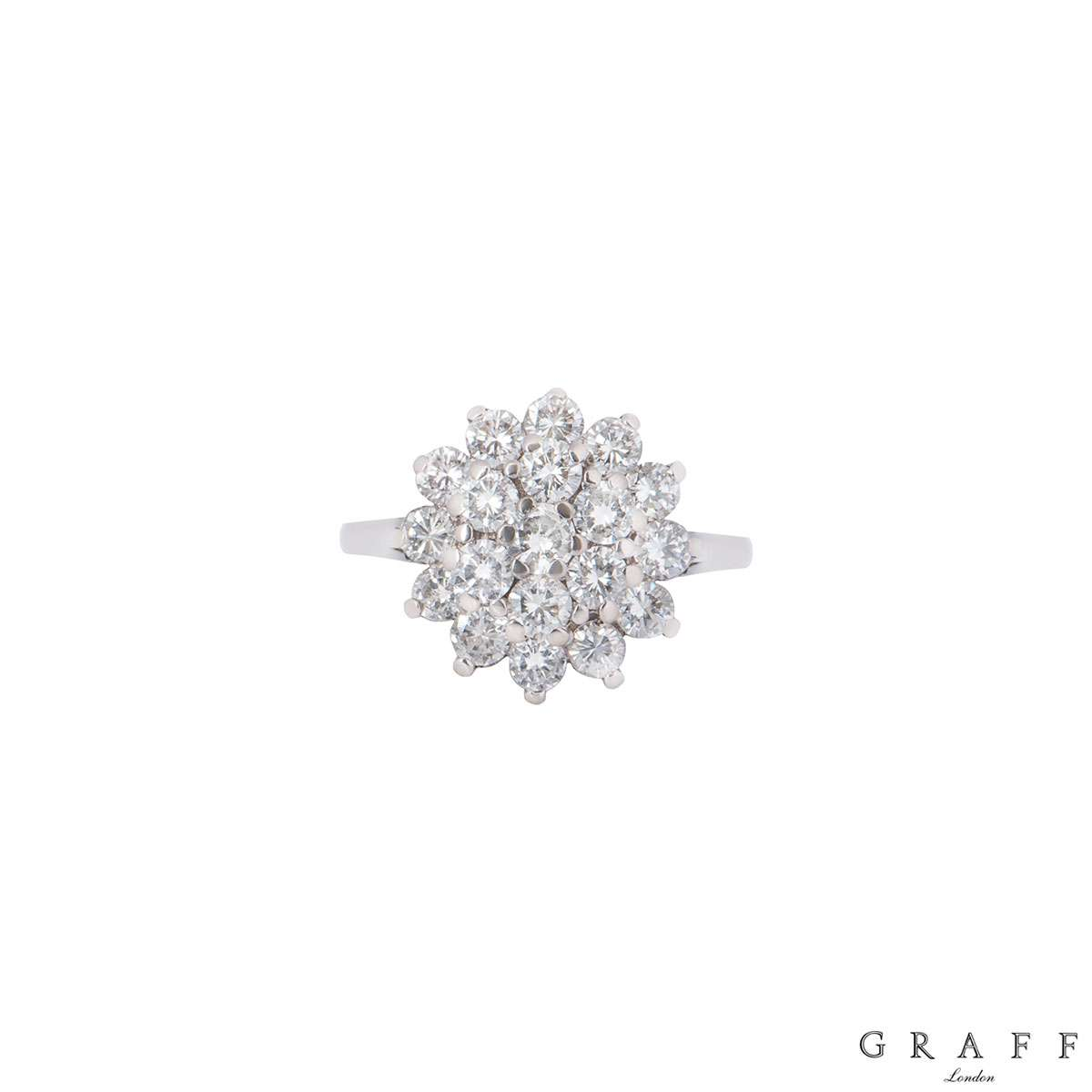 Graff White Gold Diamond Cluster Floral Ring